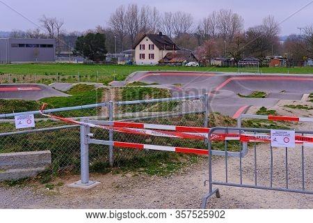 Brugg, Aargau, Switzerland, March 21, 2020: Bike Pumptrack Playground Closed Due To Corona Virus Cri