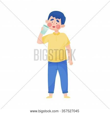 Young Boy Holding Glass Of Cool Water And Drinking Vector Illustration