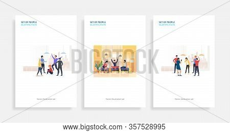 Set Of People Blaming Mate. Flat Vector Illustrations Of Friends Chatting Or Pointing At Colleague.