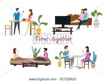 Set Of Couples In Love On Daily Life Or Everyday Routine Scenes Of Young Romantic Relationship. Spen