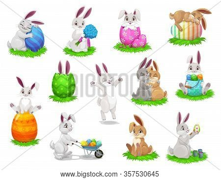 Easter Cartoon Rabbits With Painted Eggs Isolated Vector Characters. Bunnies On Easter Egg Hunt, Egg