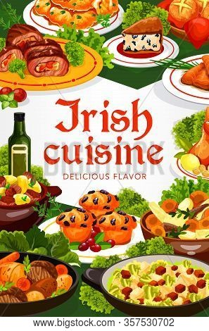 Irish Cuisine Vector Dishes Of Meat, Fish And Vegetable Food. Irish Stews With Beef, Lamb And Rabbit
