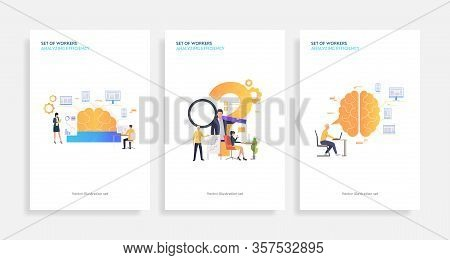 Set Of Workers Analyzing Efficiency. Flat Vector Illustrations Of Brain, Devices, Infographics. Effi