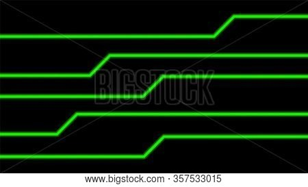 Line Glow Green On Black For Background, Modern Art Line Glowing Green Color For Technology Concept,