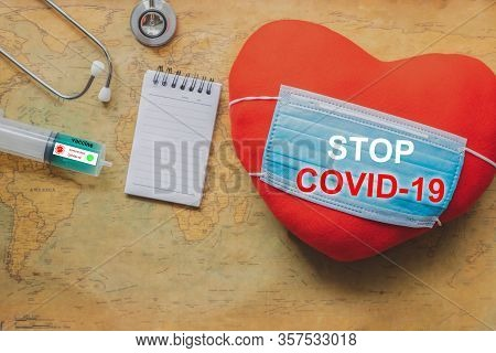 Heart With Medical Stethoscope On Map Covid 19 For Stop Covid 19 Virus Covid-19 Or Corona Protected