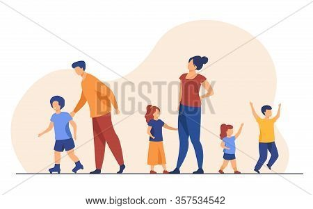Big Family Walking Outdoors. Tired Parents And Children Standing Together, Roller Skating. Vector Il