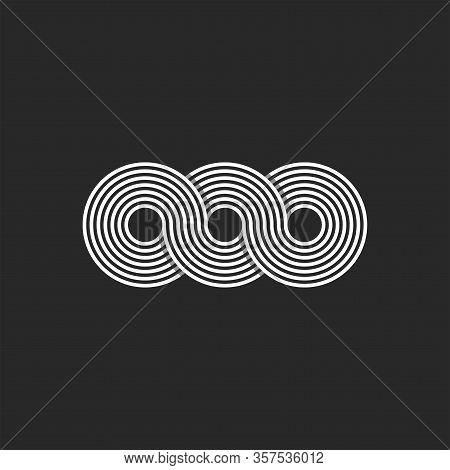 Infinity Logo Minimalist Style Infinite Circles Geometric Shape From Chain Loops, Monogram Ooo Three