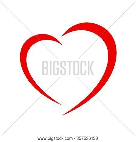 Heart Shape Red Isolated On White Background, Heart-shaped Flat Icon Symbol, Red Heart Shape For Dec