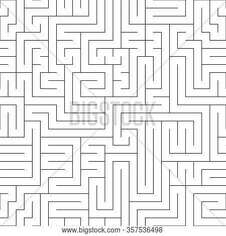 Black And White Maze Seamless Pattern. A Big Challenge Game. Linear Square Ornament. Print For Texti