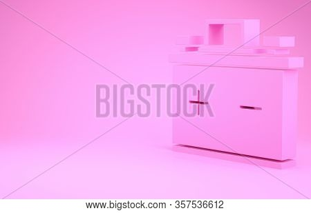 Pink Car Battery Icon Isolated On Pink Background. Accumulator Battery Energy Power And Electricity