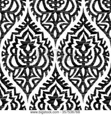 Embroidered Black And White Seamless Damask Pattern. Elegant Print For Textiles. Handmade In A Bohem