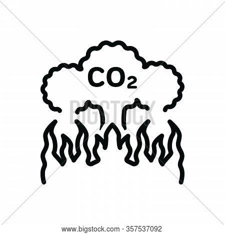 Black Line Icon For Emission Release Co2 Pollution Atmosphere Damage Effect Gas Dioxide