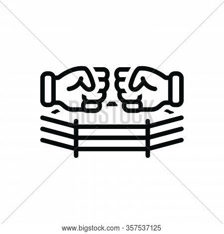 Black Line Icon For Fight Brawl Quarrel Squabble Boxing Punch Champion Athletic Boxing-ring-