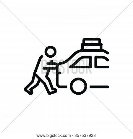 Black Line Icon For Emphasize Push Shake Person Automobile Overheated Forcing