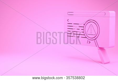 Pink System Bug Concept Icon Isolated On Pink Background. Code Bug Concept. Bug In The System. Bug S