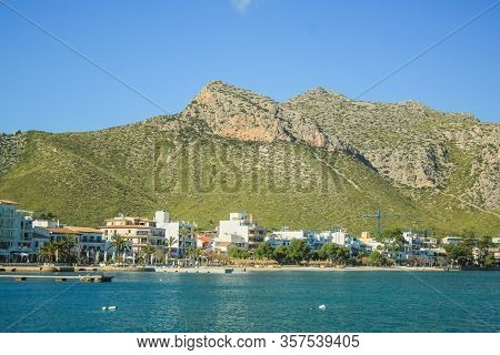 Tranquil Harbour With Boats In Port De Pollenca, Mallorca, Spain