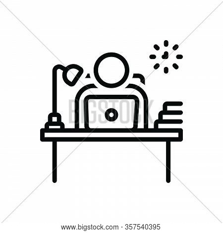 Black Line Icon For Employer Proprietor Owner Receptionist Counter Table-lamp Boss Laptop Books