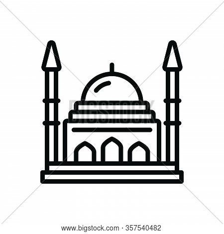 Black Line Icon For Historical Ancient Antique Architecture Building Classical Culture Mythological