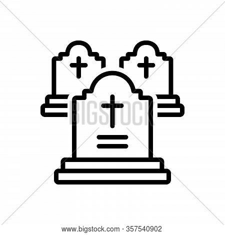 Black Line Icon For Grave Death Funeral Gravestone Tombstone Cemetery Graveyard Halloween Headstone