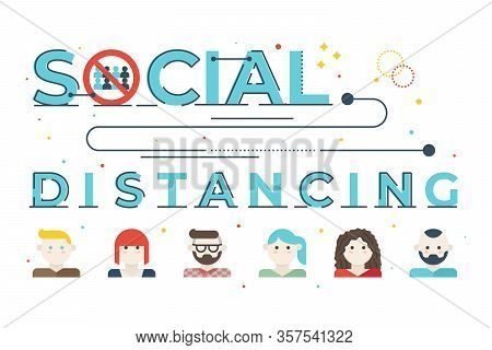 Social Distancing Word Lettering Illustration With Icons For Web Banner, Flyer, Landing Page, Presen
