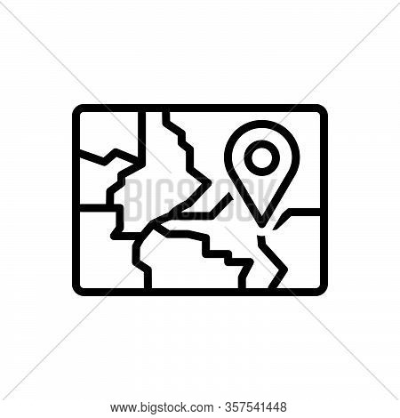 Black Line Icon For Region Field Zone Scope Realm Area Map Gps Navigation Location Whereabouts