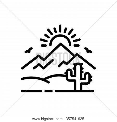 Black Line Icon For Desert Sands  Sandbar Cactus Wilderness Barren Infertile Natural