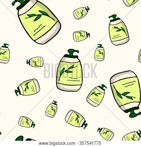 Bottle Of Cosmetics With Dispenser For Emulsions, Oil, Soap. Seamless Pattern. Simple Hand Drawn Vec