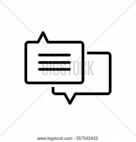 Black Line Icon For Advice Request Counsel Guidance Bubble Chat Conversation Message