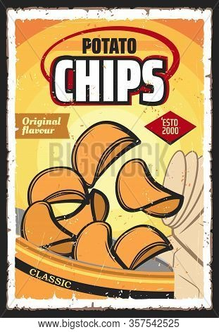 Potato Chips Or Crisps, Vector Vegetable Snack Food. Crunchy And Salty Slices Of Deep Fried Potato W