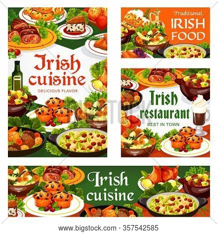 Irish Cuisine Meat, Vegetable And Fish Meal With Desserts, Vector Food. Beef, Lamb And Rabbit Stews,