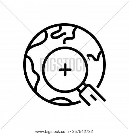 Black Line Icon For Find Discover Observe Search Quest World Earth Magnifying-glass