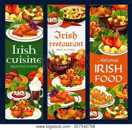Irish Cuisine Vegetable Meat Stew, Fish And Soda Bread, Food Vector Banners. Potato Pancakes, Cabbag