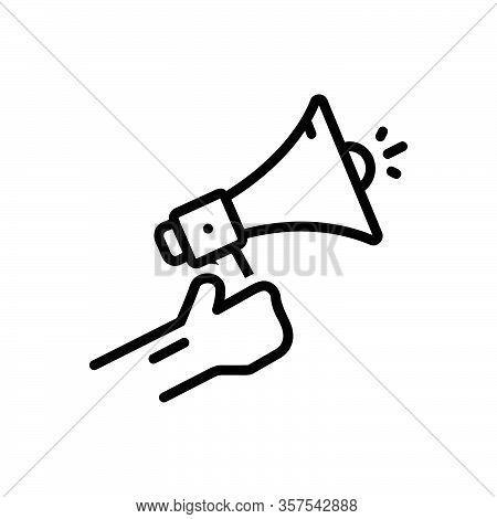 Black Line Icon For Inform Enlighten Notify Apprise Acquaint Bullhorn Megaphone Sound