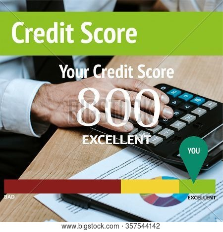 Cropped View Of Trader Using Calculator Near Your Credit Score Letters
