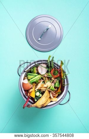 Sustainable And Zero Waste Living. Vegetable Waste In Recycling Compost Pot. Top View. Copy Space. P