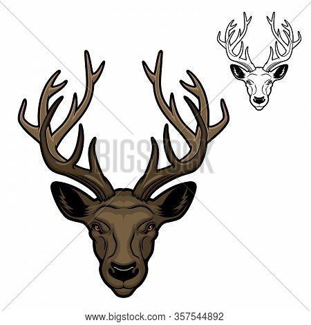 Deer With Antlers Mascot Of Vector Animal Head. Hunting, Sport And Zoo Mascot Of Reindeer, Wild Herb