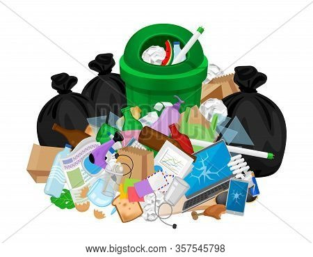 Pile Of Garbage Waste And Bag Plastic At Green Recycle Bin Isolated On White, Plastic Garbage Waste