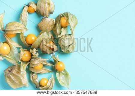 Physalis Fruit With Husk On Blue Background. Top View. Copy Space. Tropical Travel, Exotic Fruit. Ve
