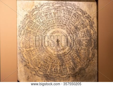 Ravenna, Italy - Sept 11, 2019: Easter Calendar For The Years 532-632 D.c. Marble Of Preconnesus. Th