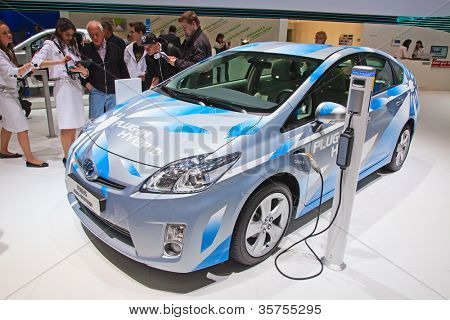 GENEVA - MARCH 8: The Toyota Prius plug-in hybrid preview on display at the 81st International Motor Show Palexpo-Geneva on March 8, 2011 in Geneva, Switzerland.