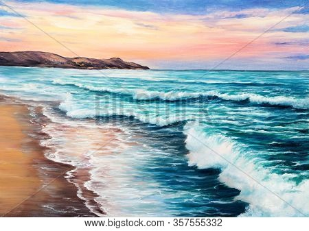 Original  Oil Painting Of Beautiful Sunset Over Ocean Beach On Canvas.modern Impressionism, Modernis