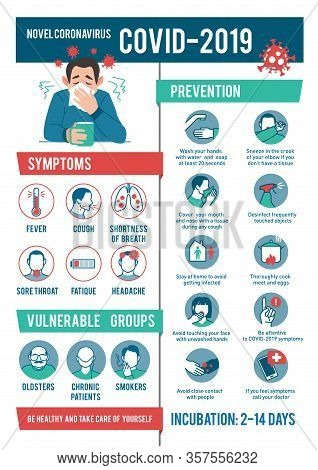 Coronavirus 2019-ncov Infographic: Symptoms And Prevention Tips. 2019-ncov Covid Causes, Symptoms An