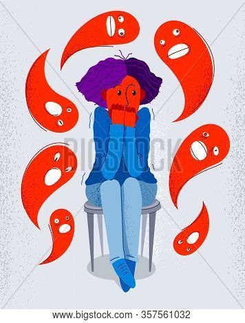 Phobia Of Ghosts And Spirits Paranormal Vector Illustration, Girl Scared In Panic Attack Surrounded