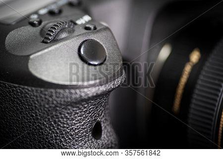 Digital Camera Photography Dslr. Professional Equipment. Camera Bottom