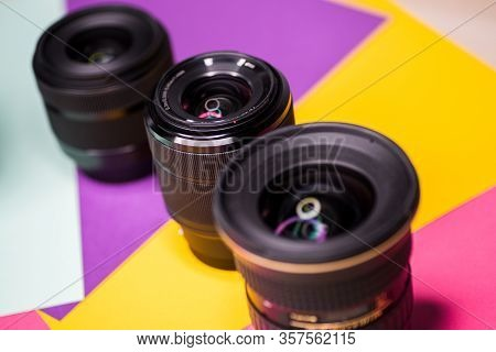 Digital Camera Photography Dslr. Professional Equipment. Different Optical Glass.