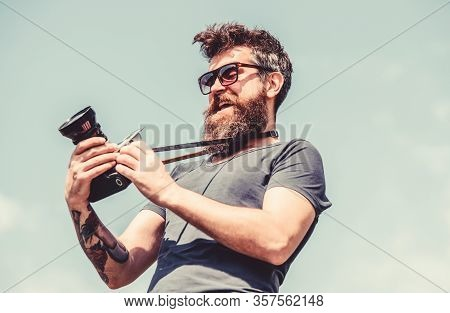 Retro Photographic Equipment. Hipster Man In Sunglasses. Mature Hipster With Beard. Bearded Man. Bru