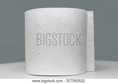 Toilet Roll, Closeup Of A Single Roll Isolated Against A Gray Background