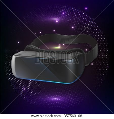 Original Stereoscopic 3d Vr Headset. Front View. Vector Illustration