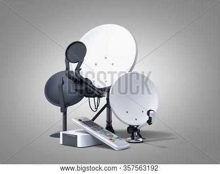 Satellite Tv Or Internet Concept Different Size Satellite Dishes 3d Render On Grey Gradient