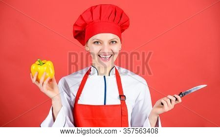 Stainless Steel. Dangerous Lady. Be Careful While Cut. Chef Cut Vegetables. Woman Chef Hold Sharp Kn